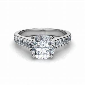 Princess cut channel set diamond engagement ring for Diamond wedding ring settings