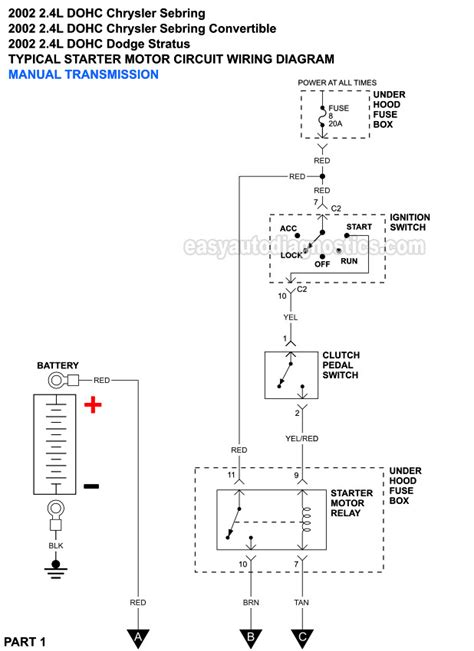 Part Starter Motor Circuit Wiring Diagram