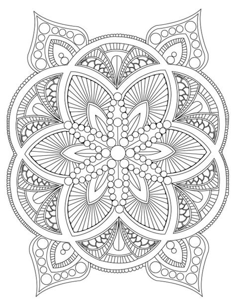 abstract mandala coloring page  adults digital
