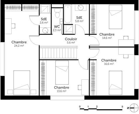plan maison a etage 3 chambres plan maison à étage avec 4 chambres ooreka