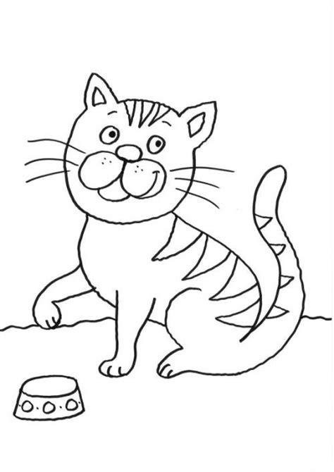 kostenlose malvorlage katzen katze mit futternapf zum