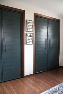 diy bi fold closet door makeovers bright green door With build bifold doors