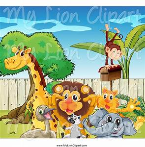 Clipart of a Group of Happy Zoo Animals by Graphics RF - #1899