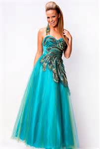 Blue Peacock Prom Dress