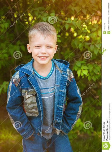 years  kid dressed  casual blue jeans stock image