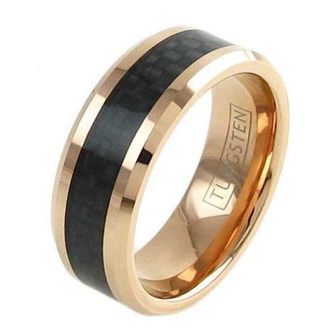 rose gold plated tungsten ring  black carbon fiber