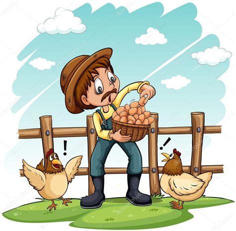 Um agricultor com um cesto de ovos Vetor de Stock