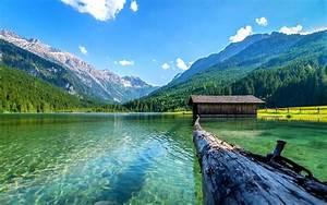 Lake, Nature, Boathouses, Mountain, Landscape, Log, Summer