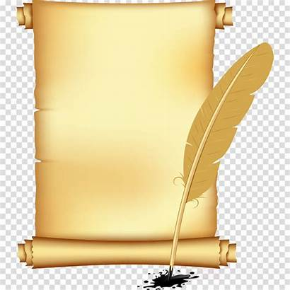 Scroll Clipart Writing Quill Implement Transparent Clip