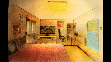 draw  point perspective bedroom