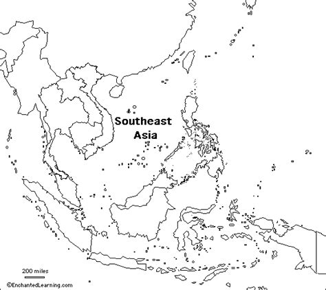 asia physical outline map  travel information