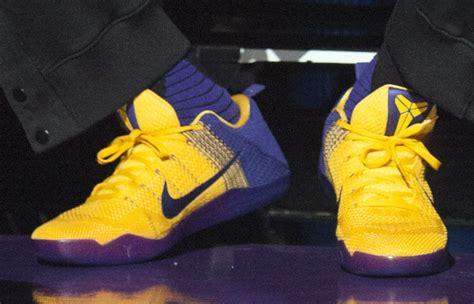 laker colors lakers nike 11 yellow purple sneaker bar detroit