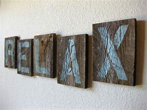 Reclaimed barn wood letters in soft teal relax wall art for Reclaimed barn wood letters