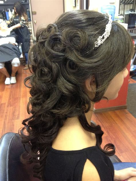 Quinceanera Hairstyles With Curls by Beautiful Partial Updo With Tiara Flowing Curls In Back