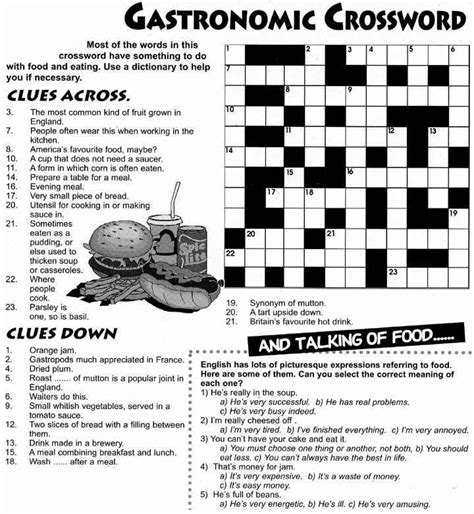food  drink crossword documentos pinterest