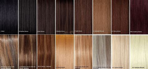 Human Hair Extension Colour Matching Chart