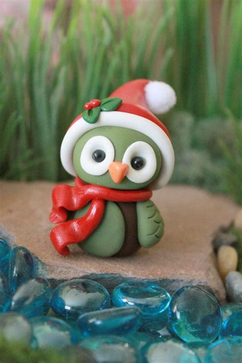 polymer clay christmas owl miniature owl mini clay owl