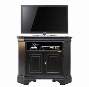 Meuble D Angle Pour Tv : meuble tv d 39 angle noir et merisier lamaisonplus ~ Teatrodelosmanantiales.com Idées de Décoration