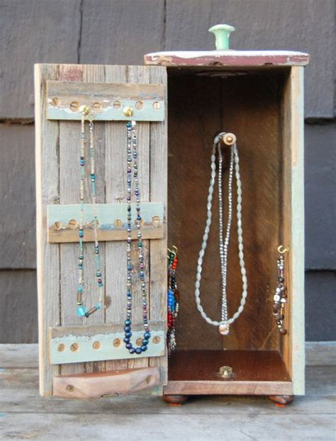 rustic wood jewelry box  hanging necklaces