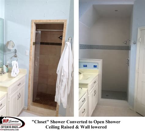 closet shower converted to open shower with raised ceiling