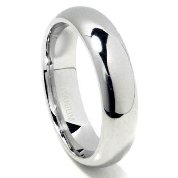 titanium 6mm high dome wedding band ring
