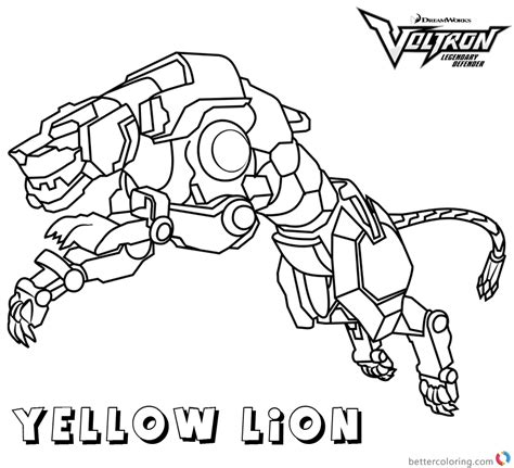 voltron coloring pages yellow lion  printable