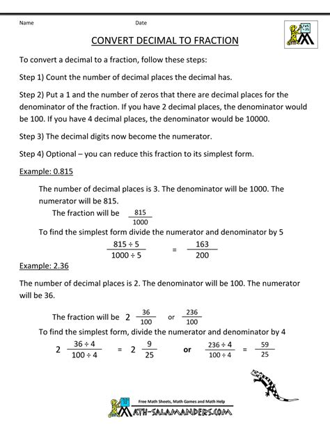worksheet convert a decimal to a fraction