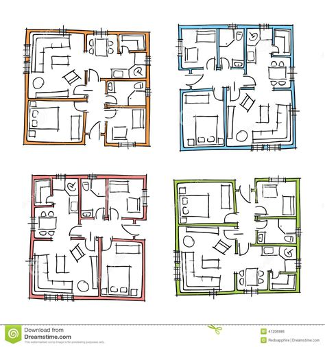 hand drawn house plans stock photo illustration
