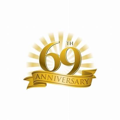 69th Anniversary Happy Birthday 69 Ribbon Rays