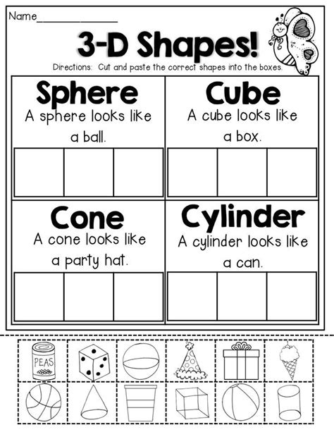 3d Shapes (cut And Paste)!  Ch Elementary  Pinterest  Shapes, Math And Kindergarten