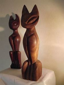 Reserved for Annie - Vintage Tall Carved Wooden Cat