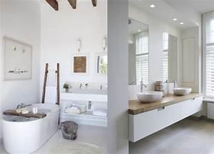 une salle de bains en blanc et bois joli place With salle de bain design blanche