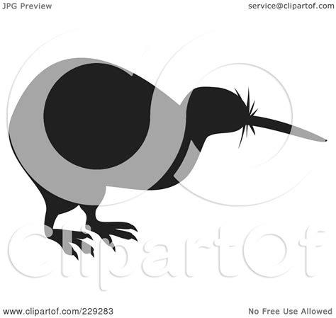 royalty free rf clipart illustration of a black kiwi bird silhouette by patrimonio 229283