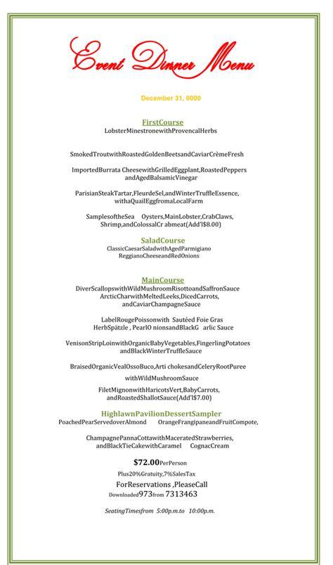 dinner menu template dinner menu template 5 printable menu designs