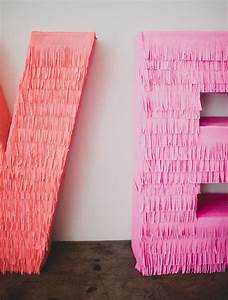 diy giant fringe love letters weddbook With diy giant letters