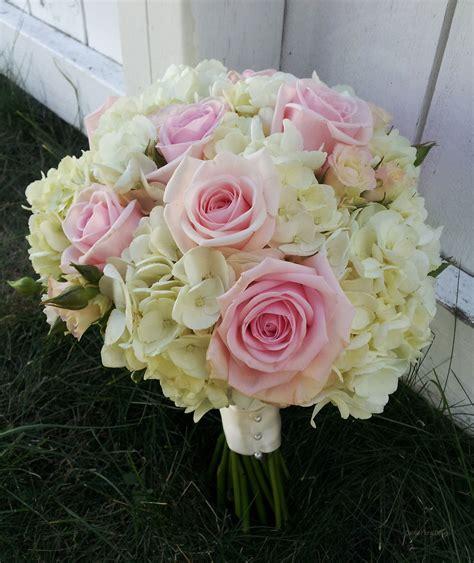 white  pink hydrangea wedding flower bridal party bouquet
