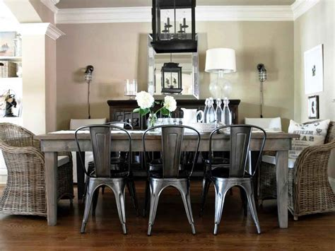 Dining room Brushed Metal Dining Chairs Black Steel Dining