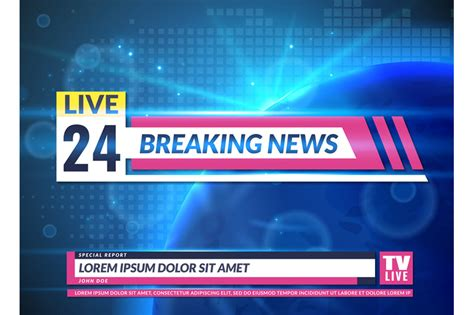 Breaking news. Tv reporting screen banner template design ...