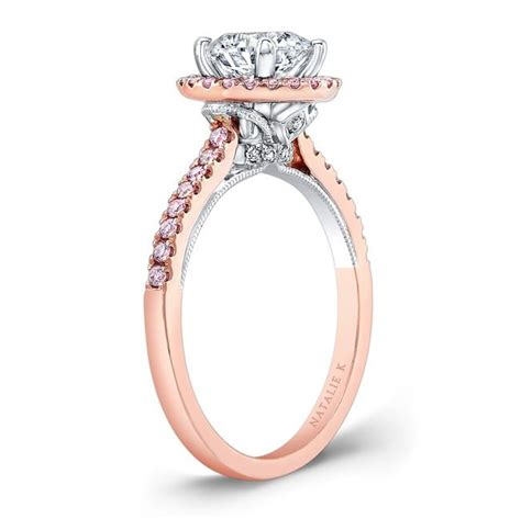 18k rose and white gold pink diamond halo white diamond