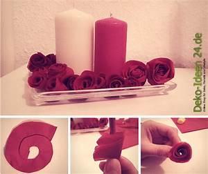 Basteln Mit Servietten : servietten rosen basteln schneiden rollen kleben deko blog ~ Buech-reservation.com Haus und Dekorationen