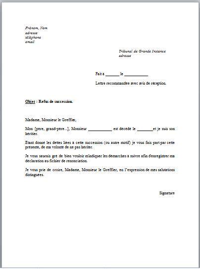 modèle de lettre de renonciation modele courrier succession banque