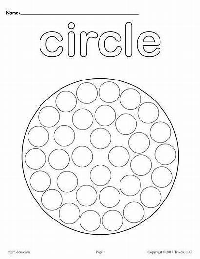 Circle Shapes Coloring Pages Dot Printable Printables