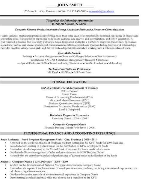 junior accountant resume template premium resume sles
