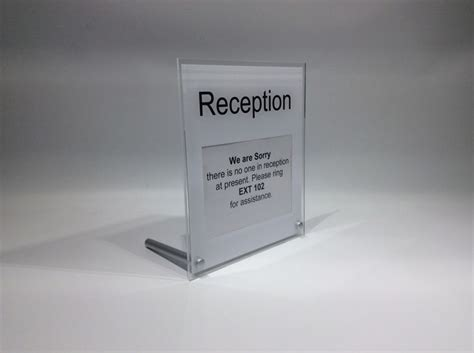 away from desk sign reception desk sign freestanding desk top sign with space