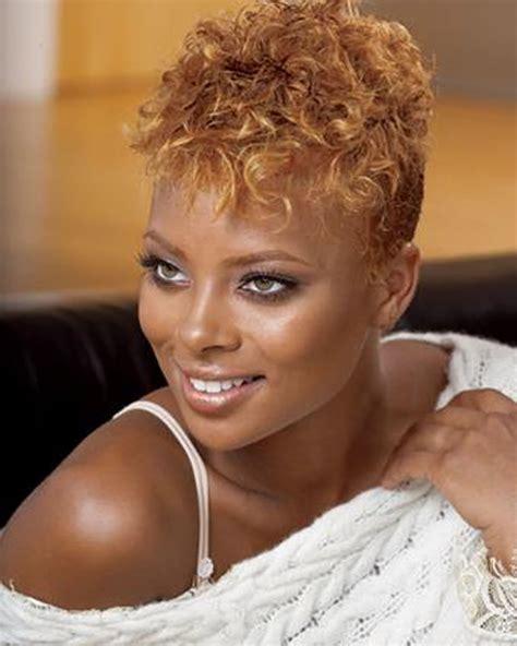 curly brown hair colour  pixie haicut  black women