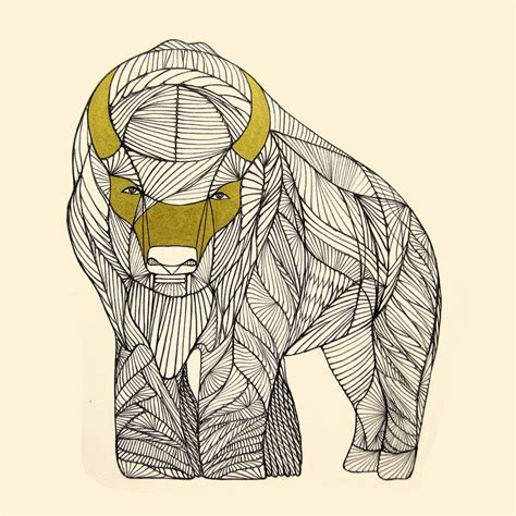 buffalo art print native animal  drawing  thailan