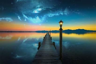 Space Water Lake Bridge Manipulation Nebula Evening