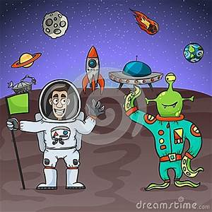 Astronaut And Alien Stock Vector - Image: 53103505