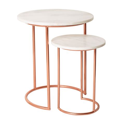 rose gold bedside table white muse marble copper nesting tables oliver bonas