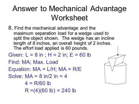 Mechanical Advantage Worksheet Homeschooldressagecom